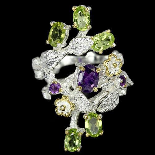 Серебряное кольцо с натуральными Аметистами и Перидотами