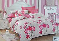 Сатиновое постельное белье полуторка ELWAY 5033 Розовые нарциссы