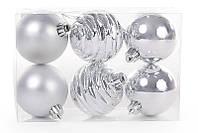 Набор елочных шаров 6 см, цвет - серебро, 6 шт: мат, перламутр, глянец  - по 2 шт BonaDi 147-112