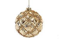 Елочный шар с декором из бусин 8см, цвет - золото