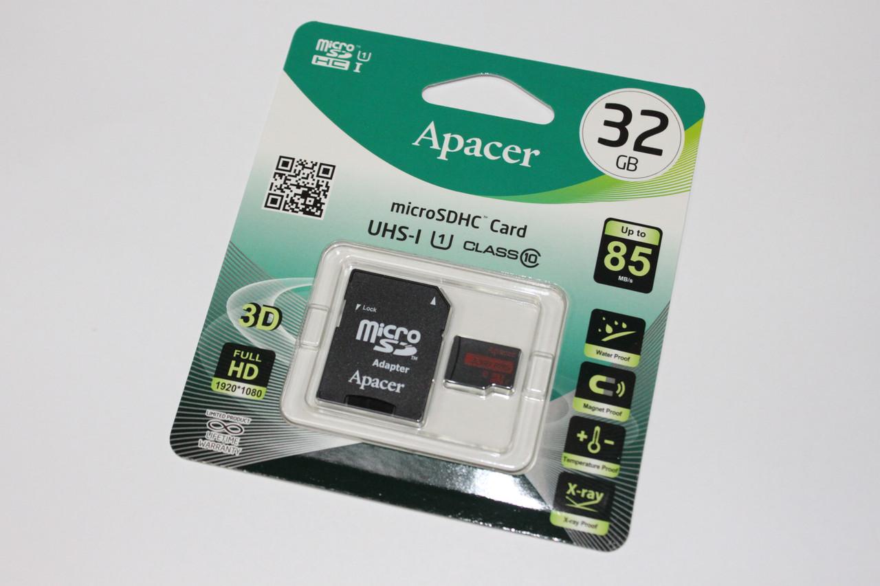 Карта памяти Apacer MicroSDHC 32Gb class 10 UHS-1 U1 (R-85mb/s) (c адаптером SD)