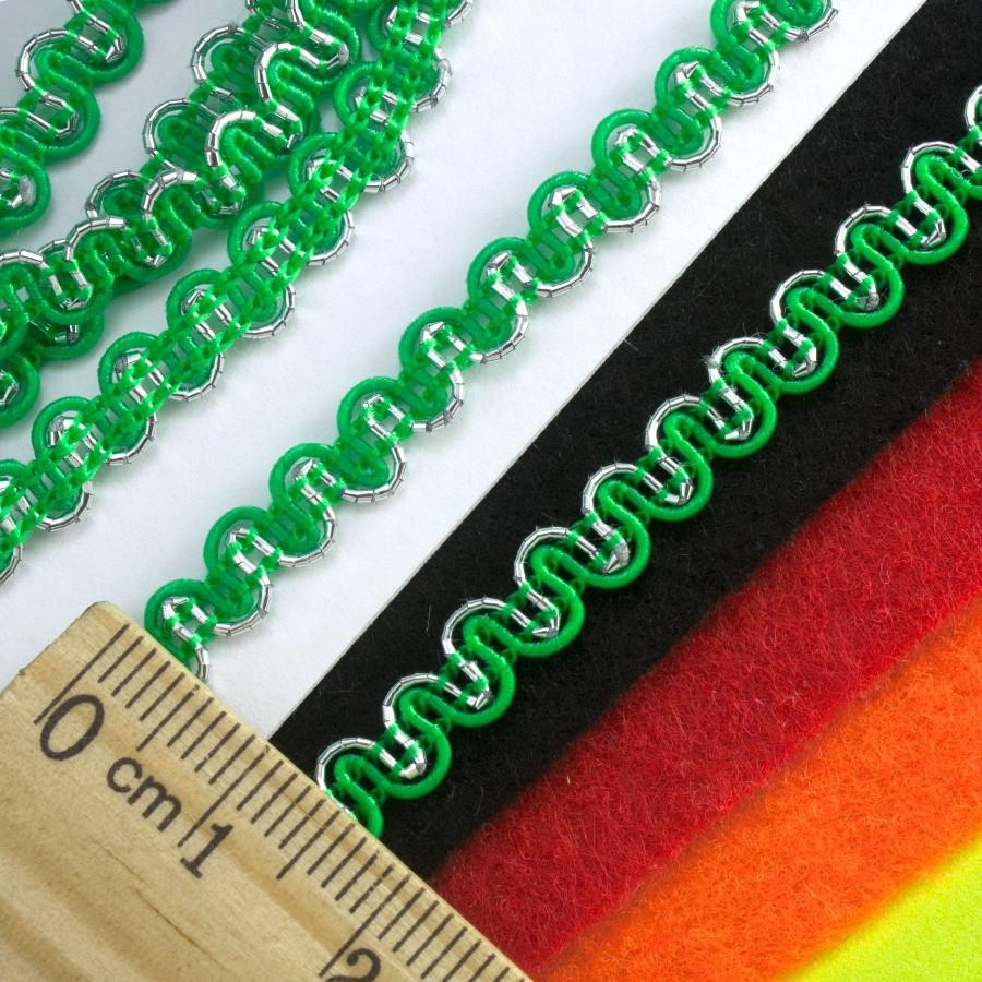 """(20 метров) Тесьма """"Змейка"""" с люрексом (ширина 5мм) Цвет-Зелёный"""
