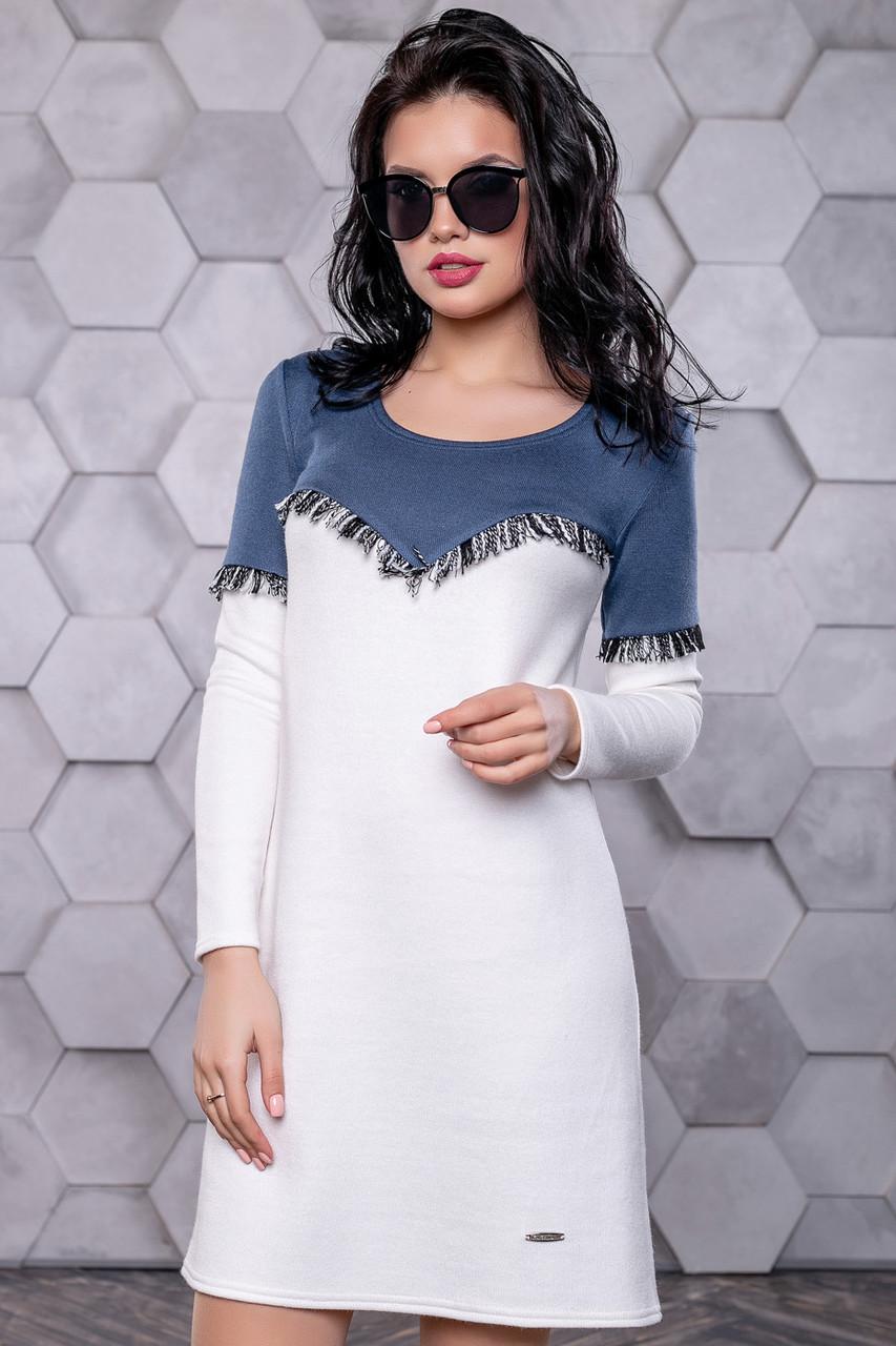 b42ac74a8dce Модное молодежное платье из ангоры в спортивном стиле с бахромой 42-48  размера синее с