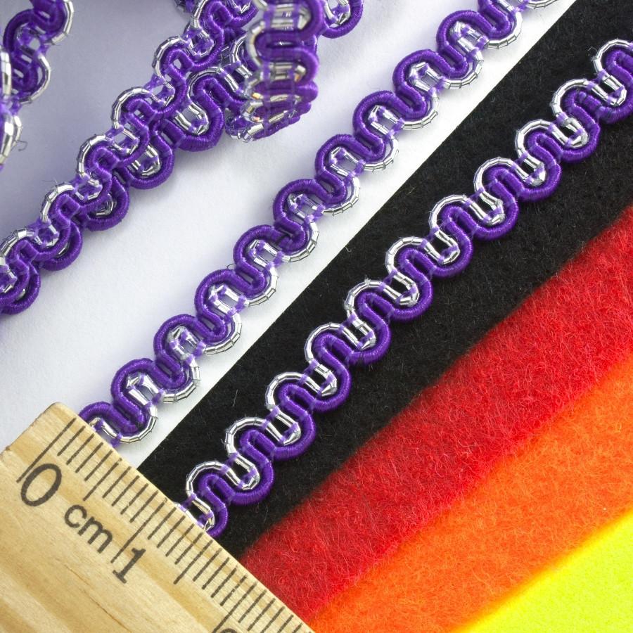 """(20 метров) Тесьма """"Змейка"""" с люрексом (ширина 5мм) Цвет - Фиолетовый"""