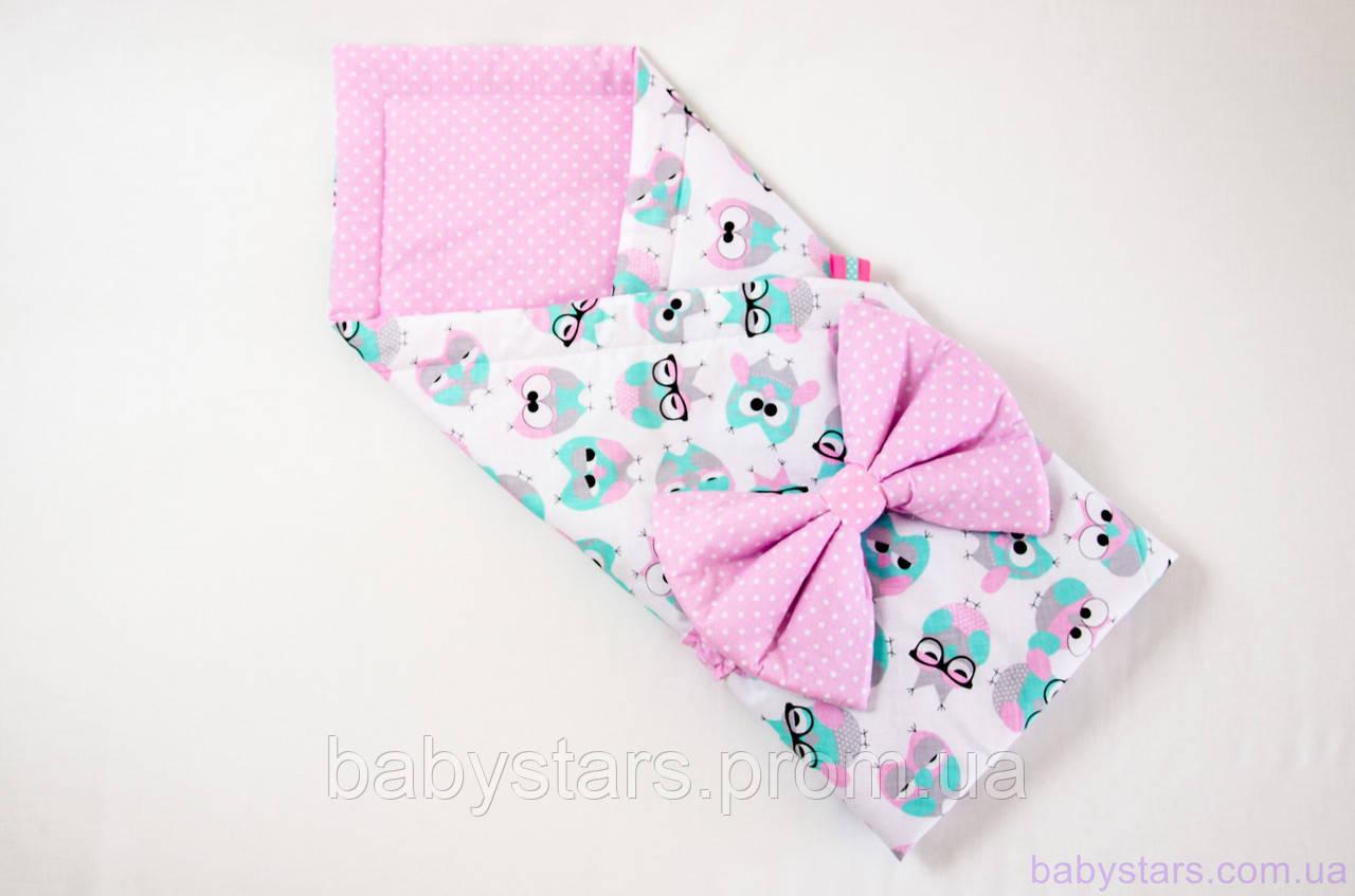 """Розовый конверт одеяло на выписку 78х85 см, """"Розовые совушки в очках"""""""