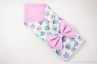 """Розовый конверт одеяло на выписку 78х85 см, """"Розовые совушки в очках"""", фото 1"""