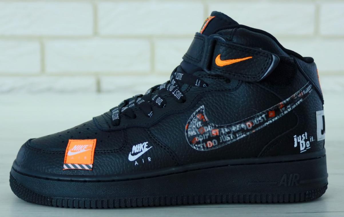 Мужские Кроссовки Nike Air Force 1 High Black Just Do It