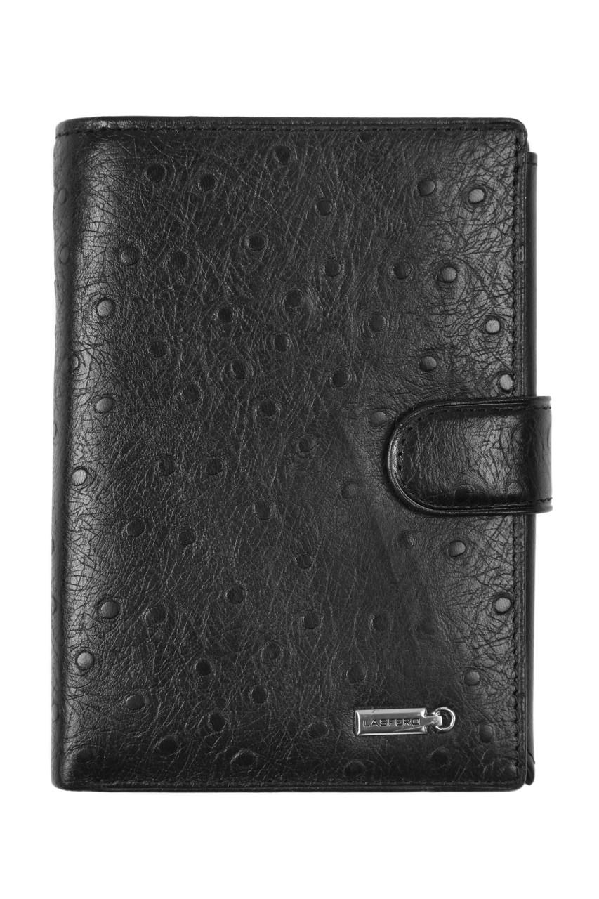 Бумажник мужской натуральная кожа LAS FERO 100х140х30 застёжка кнопка м Л60-617Ач