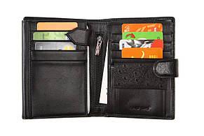 Бумажник мужской натуральная кожа LAS FERO 100х140х30 застёжка кнопка м Л60-617Ач, фото 3
