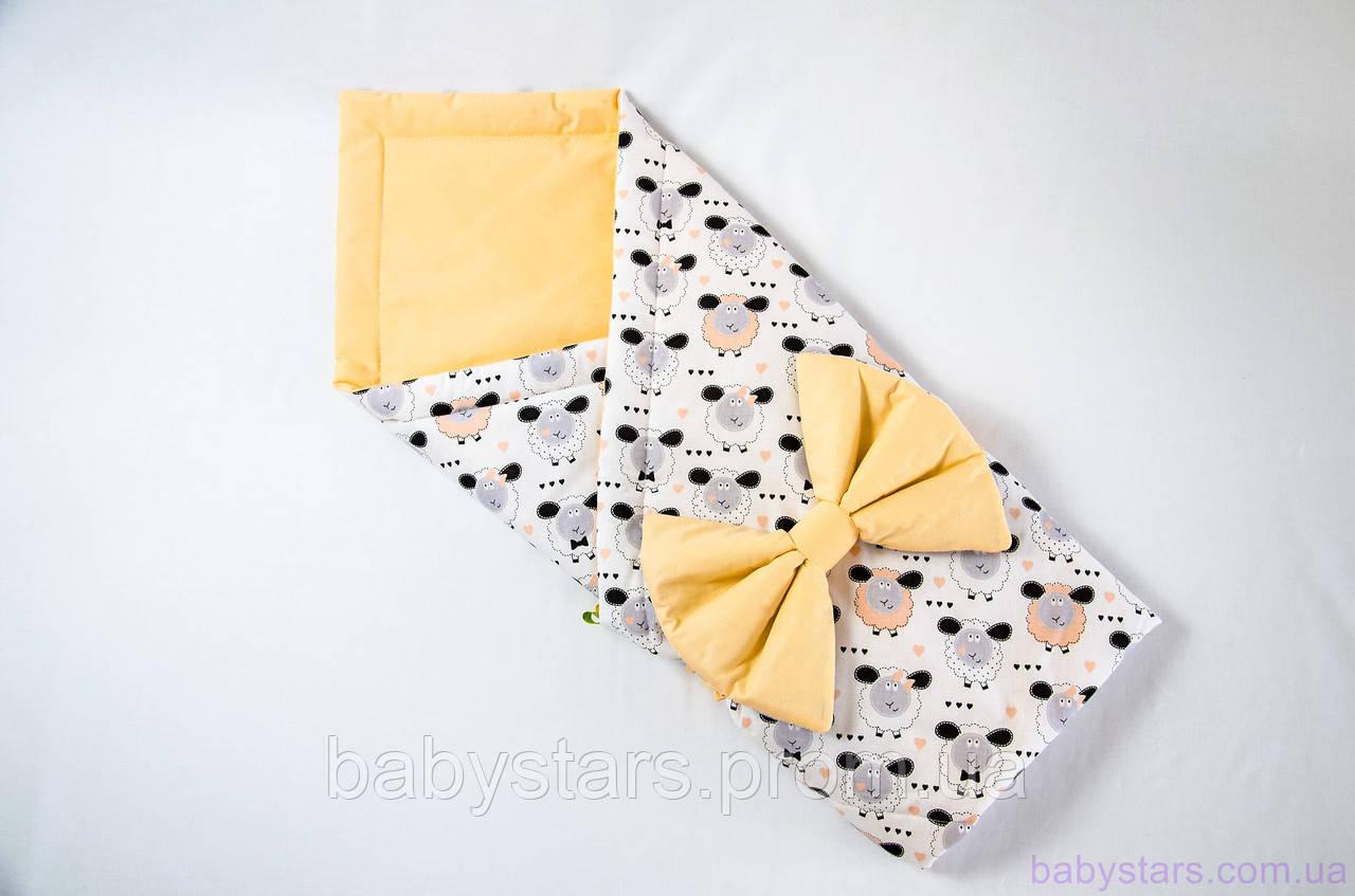 """Детское одеяло конверт для новорожденного 78х85 см, """"Персиковые барашки"""""""
