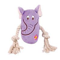 Trixie Плюшевые игрушки для собак звери с канатом, 13 см. (1 шт.)