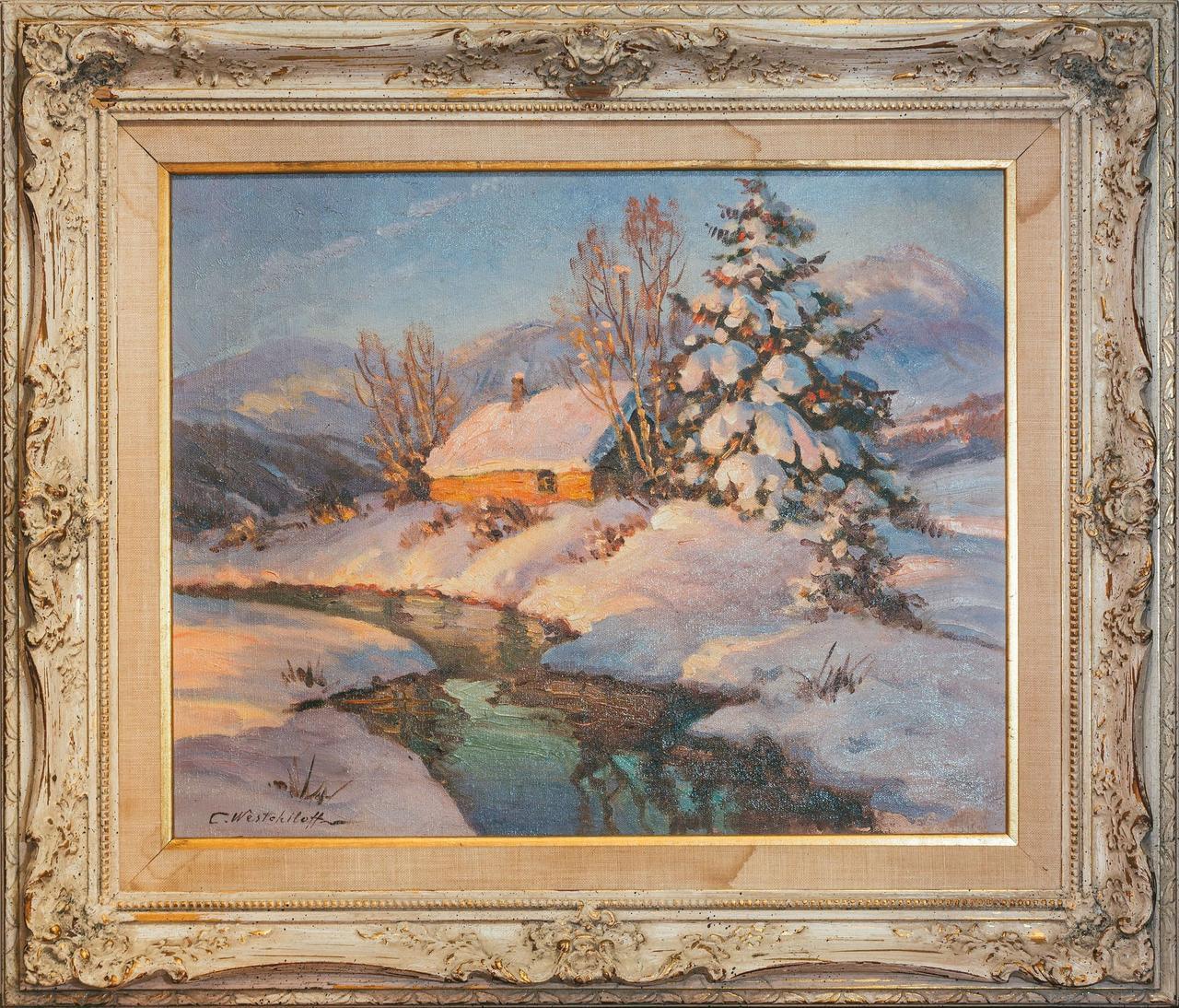 Картина Тане сніг худ. К. А. Вещилов 1-я третина ХХ століття