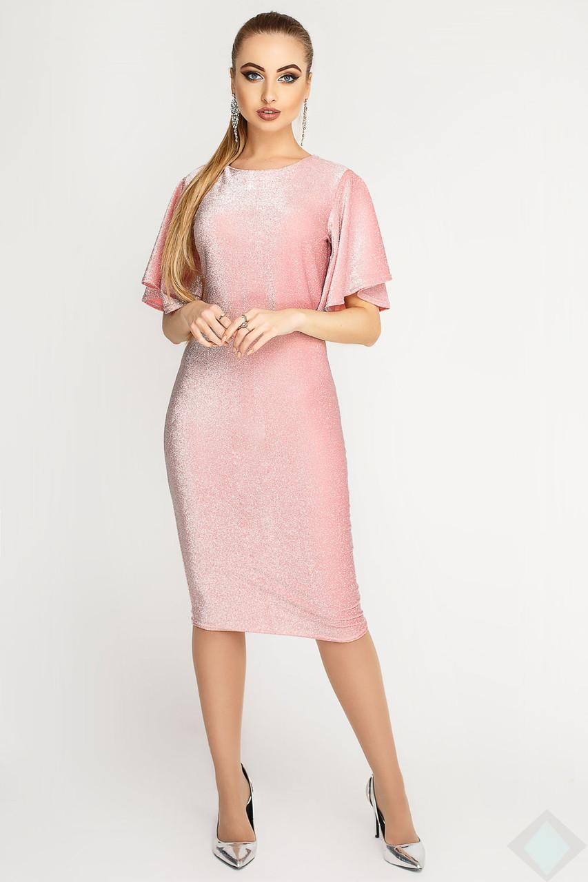 Нежное облегающее платье Агни Люрекс, розовый