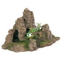 Декорация .скала с растениями 22х10,5х12,5см