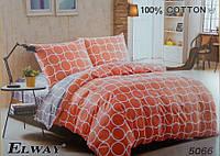 Сатиновое постельное белье полуторка ELWAY 5066 Красное