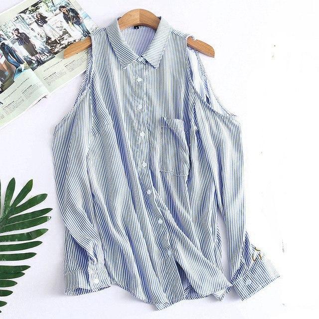2528044af1f Женская блузка-рубашка в полоску с открытыми плечами р-ры 44
