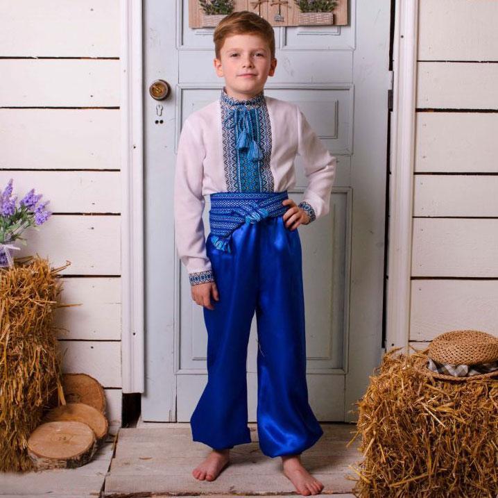 Синие шаровары на мальчика от 60 см - до 100 см 75см