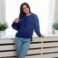 Вышиванка синяя женская блуза с пышным рукавом Птицы L  продажа ... f9b9f99467703