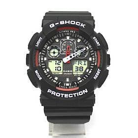 Спортивные мужские наручные часы годинник Casio G-Shock ga-100 Black-White Касио черно-белые реплика