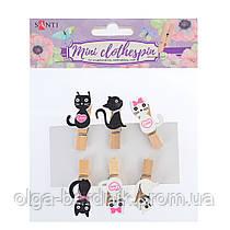 """Набор прищепок деревянных декоративных """"Lovely kitties"""", 3.5см, 6шт/уп, 742142"""