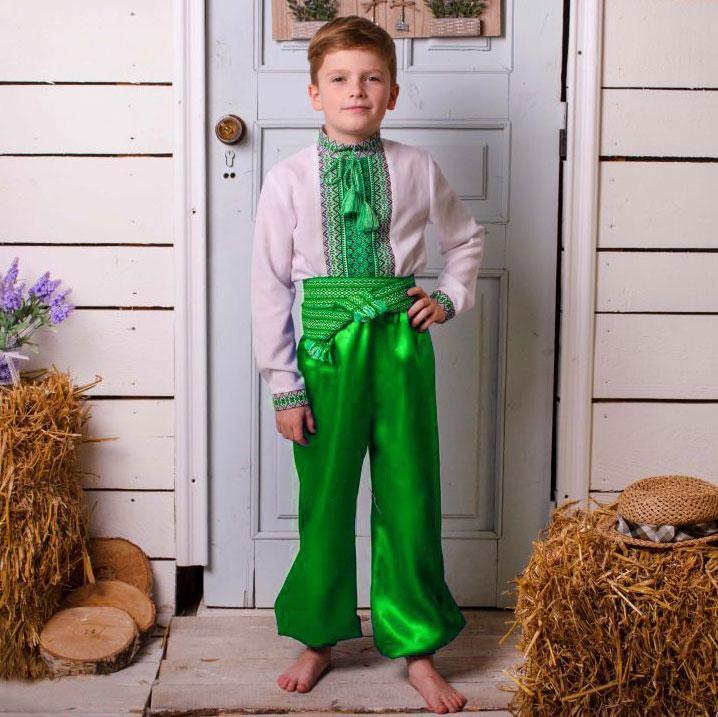 Зеленые шаровары на мальчика от 35см - до 55см 45см