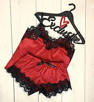 Красная пижама майка и шорты с кружевом 002-1, пижамы женские.