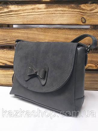 360ba5142630 Женский клатч серого цвета со вставками искусственной замши серого цвета и  бантиком, фото 2