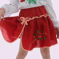 Красная юбка с вышивкой для девочки от 1 до 10 лет