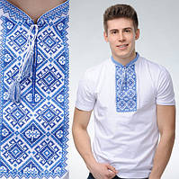 Мужская футболка вишиванка с голубым орнаментом