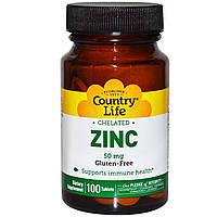 Хелатный цинк  (Chelated Zinc), Country Life, 50 мг, 100 таблеток