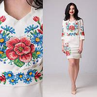 Белое женское платье вышиванка Мальва на габардине