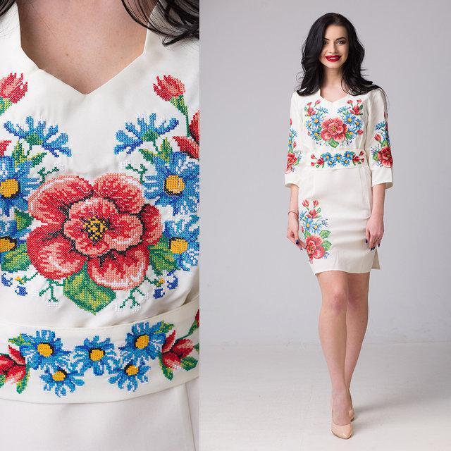 Белое женское платье вышиванка Мальва на габардине  продажа 4e6f502b3cce2