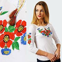 Вышиванка лонгслив белая Васильки рукав три четверти, фото 1