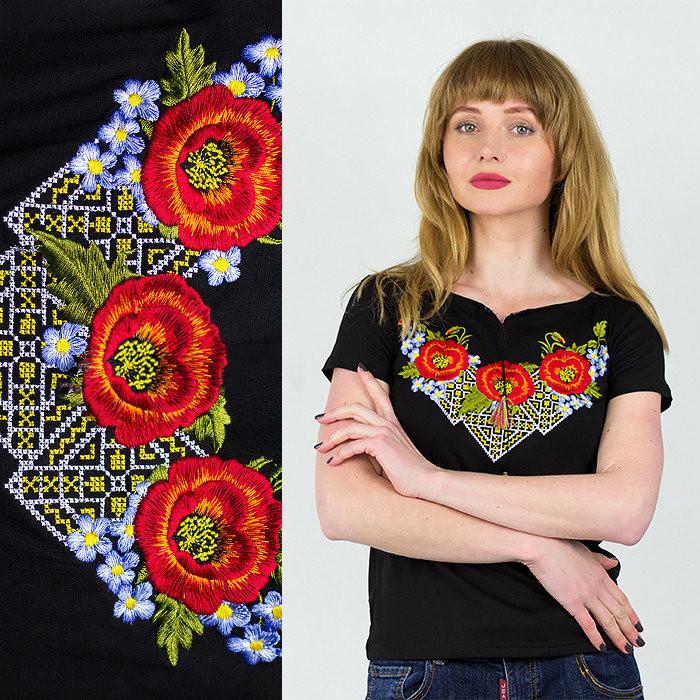 Вышиванка Украина женская Маковая фантазия черная