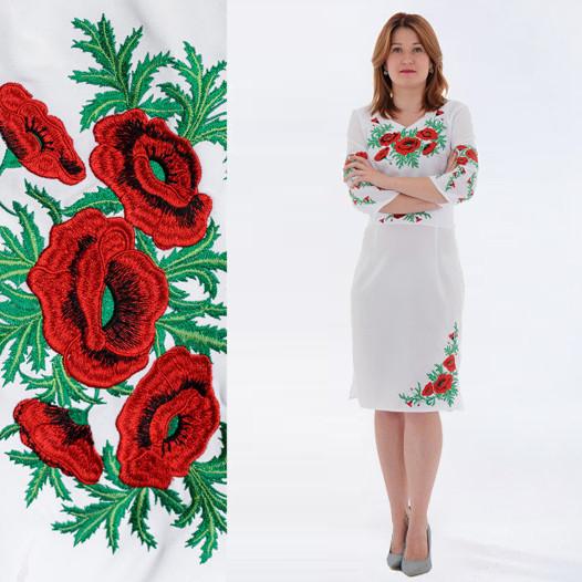 Белое платье с вышивкой маки Соломия на габардине 46 48 50
