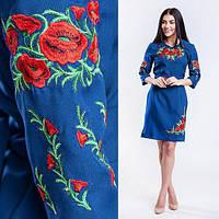 Вышитое женское платье Соломия синие, фото 1