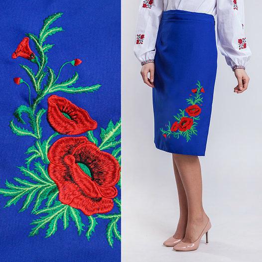 Плахта синяя юбка с вышивкой гладью Соломия 42-46