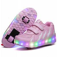 Светящиеся кроссовки Хилисы (стиль) на 2х роликах детские и подростковые ЕВРО качество, лучший подарок детям)