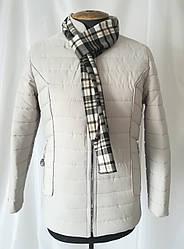 Женская куртка большого размера короткая   50-58  Молочный
