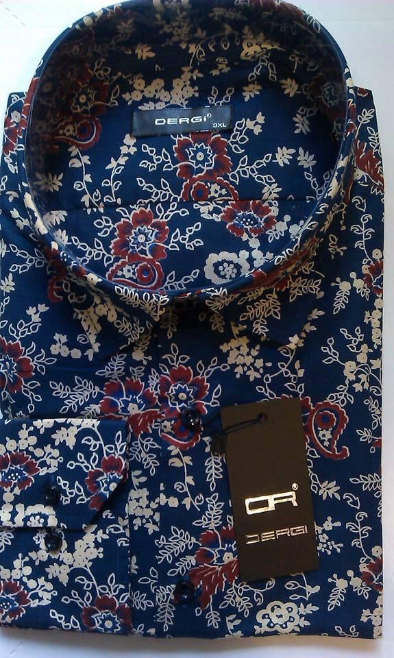 Рубашка мужская большого размера батал с длинным рукавом DERGI, код 3001-2