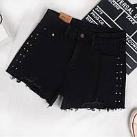Женские шорты джинсовые черные с заклепками