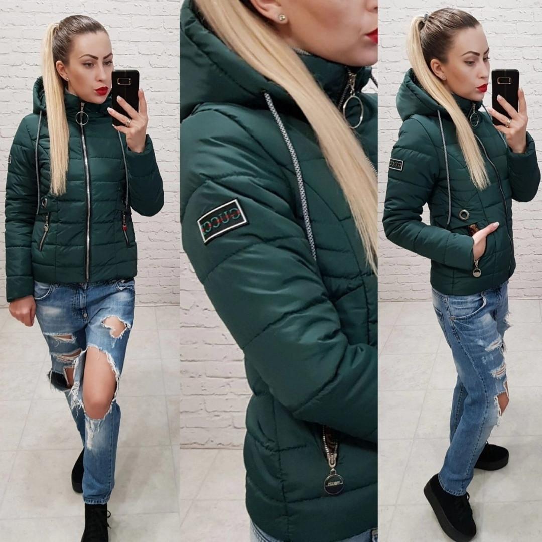 fd9420407e3 Женская куртка короткая демисезонная на молнии капюшон съемный плащевка  синтепон 100 размер 42