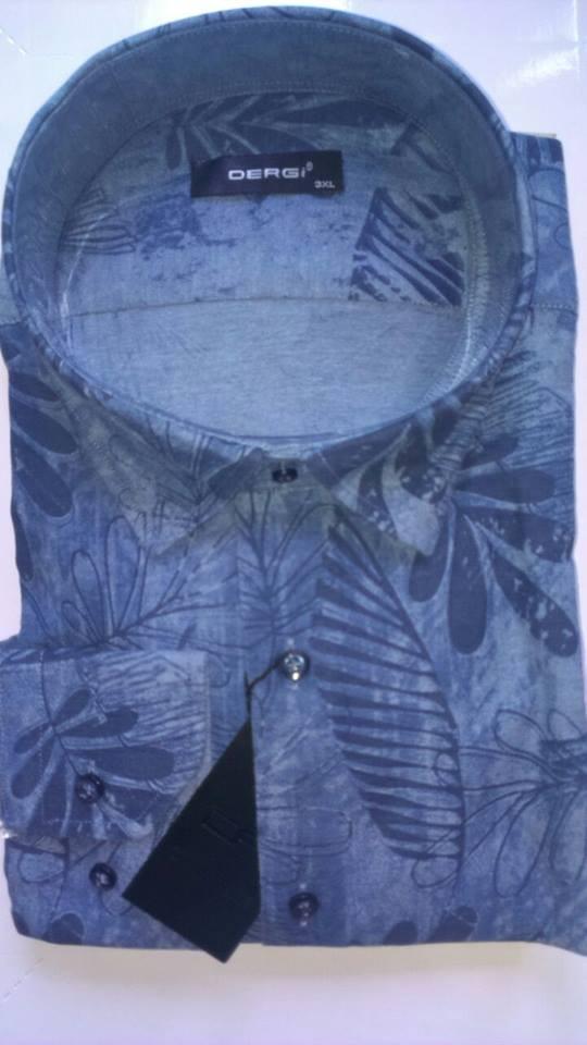 Сорочка чоловіча великого розміру батал з довгим рукавом DERGI, код 3002-3