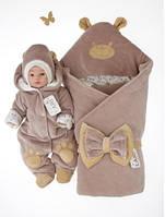 """Набор для новорожденных""""Панда""""на выписку из роддома. Коричневый, фото 1"""