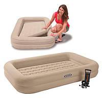 Детская односпальная надувная Кровать Intex 66810 с бортиками 107-168-25 см + ручной насос