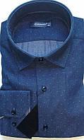 Мужская рубашка с длинным рукавом стрейч приталка DERGI, код 3041-1