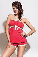 Пижама женская в горошек с шортиками Hamana INESS L Алая