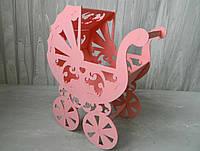 Кашпо Коляска рожева Кашпо Коляска розовая