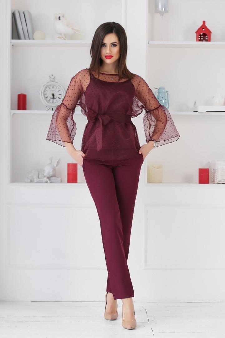 """Брючный женский костюм-тройка """"DOLLA"""" с блузой в горошек (4 цвета)"""