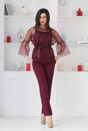 """Брючный женский костюм-тройка """"DOLLA"""" с блузой в горошек (4 цвета), фото 2"""